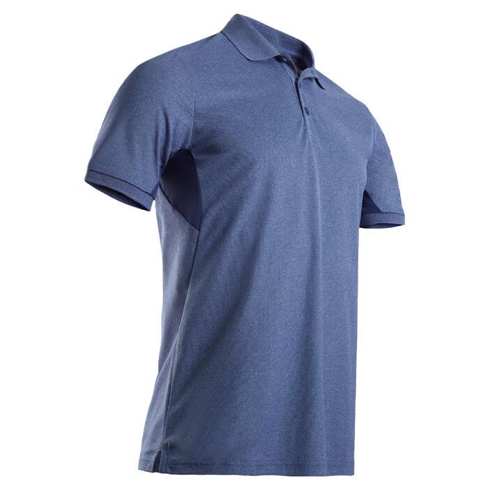 男款溫暖天候高爾夫球POLO衫-刷色藍