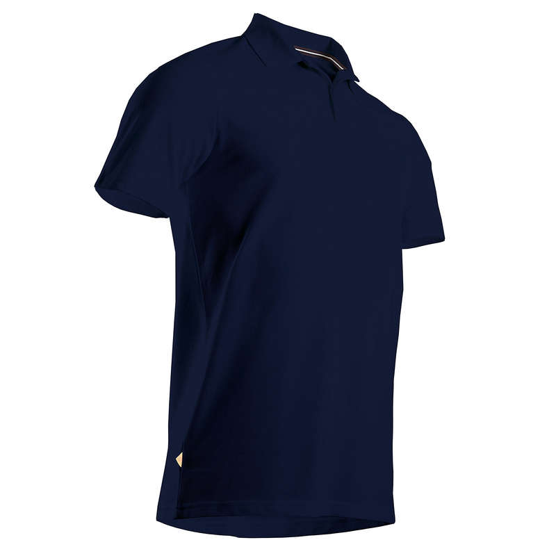 PÁNSKÉ GOLFOVÉ OBLEČENÍ DO CHLADNĚJŠÍHO POČASÍ Golf - GOLFOVÉ POLO TMAVĚ MODRÉ INESIS - Golfové oblečení