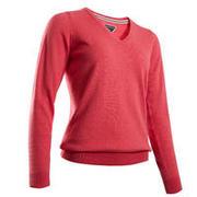 Women's golf V-neck pullover MW500 mottled strawberry pink