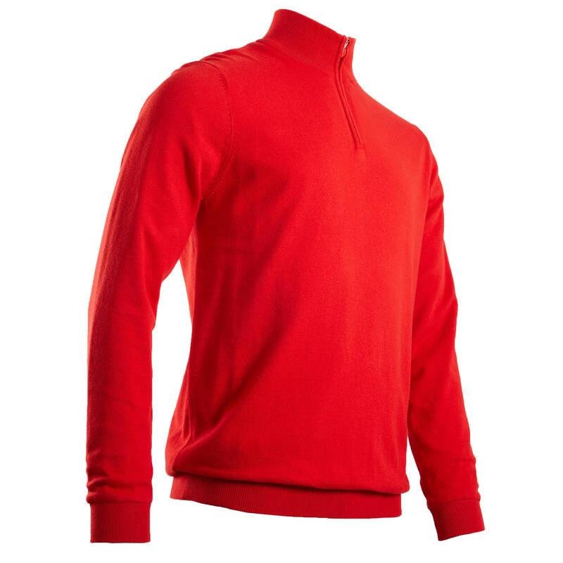 PÁNSKÉ GOLFOVÉ OBLEČENÍ DO CHLADNĚJŠÍHO POČASÍ Golf - SVETR WINDSTOPPER ČERVENÝ INESIS - Golfové oblečení
