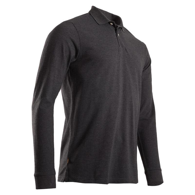 Men's long-sleeved golf polo shirt MW500 mottled grey