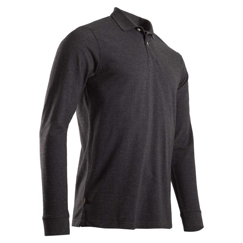 PÁNSKÉ GOLFOVÉ OBLEČENÍ DO CHLADNĚJŠÍHO POČASÍ Golf - POLO ČERNÉ MELÍROVANÉ INESIS - Golfové oblečení