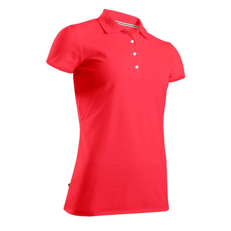 DÁMSKÉ GOLFOVÉ OBLEČENÍ DO MÍRNÉHO POČASÍ Golf - DÁMSKÉ POLO MW500 RŮŽOVÉ INESIS - Golfové oblečení