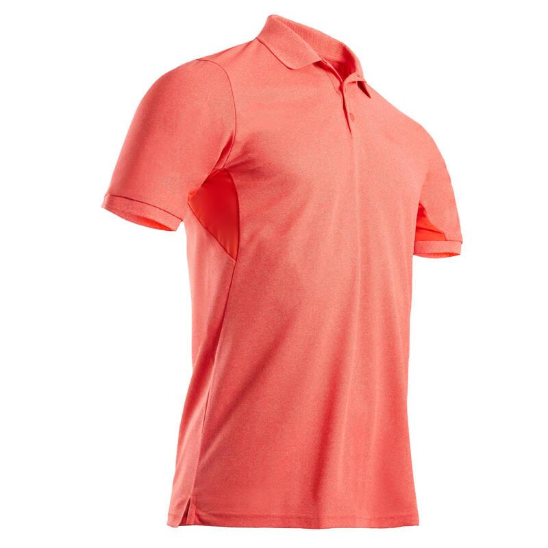 PÁNSKÉ GOLFOVÉ OBLEČENÍ DO TEPLÉHO POČASÍ Golf - POLO LIGHT KORÁLOVĚ ČERVENÉ INESIS - Golfové oblečení