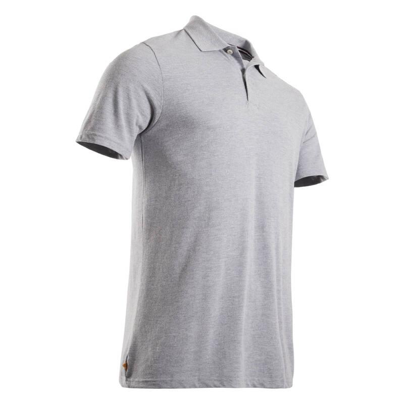 PÁNSKÉ GOLFOVÉ OBLEČENÍ DO MÍRNÉHO POČASÍ Golf - PÁNSKÉ POLO MW500 ŠEDÉ INESIS - Golfové oblečení