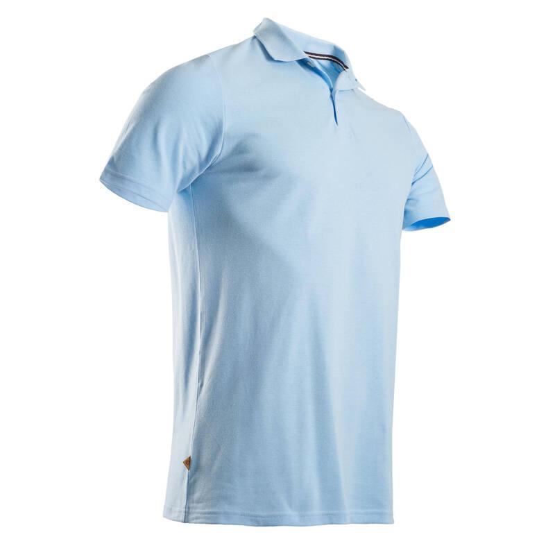 PÁNSKÉ GOLFOVÉ OBLEČENÍ DO MÍRNÉHO POČASÍ Golf - GOLFOVÉ POLO MW500 MODRÉ  INESIS - Golfové oblečení