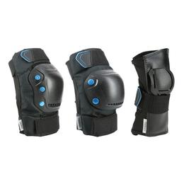 Adult Inline Skate Protection Gear Fit500 set of 3-Pieces - Black/Blue