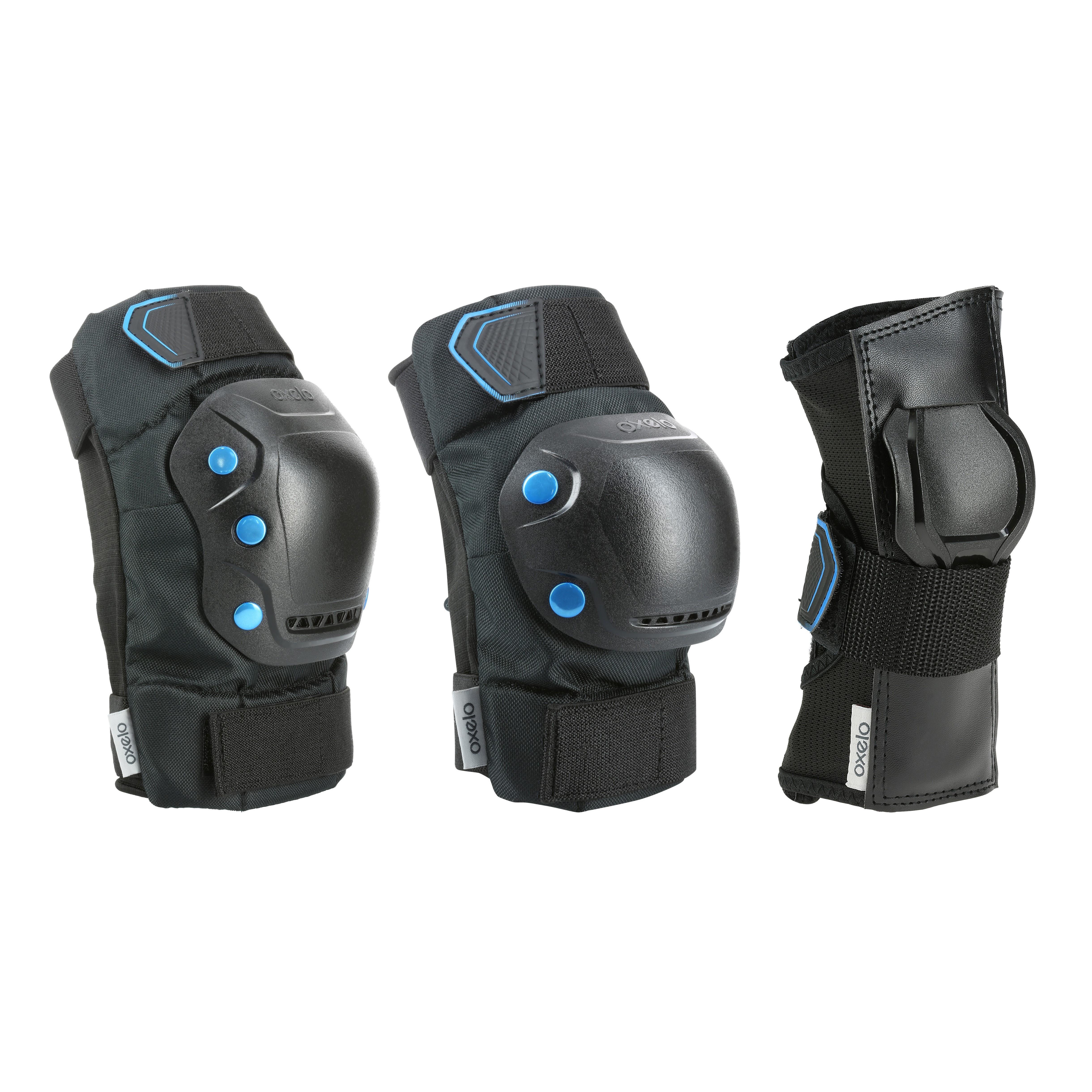 Set 3 protecciones patinaje adulto FIT 5 negro azul