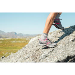Wanderschuhe Bergwandern MH100 Damen grau/rosa