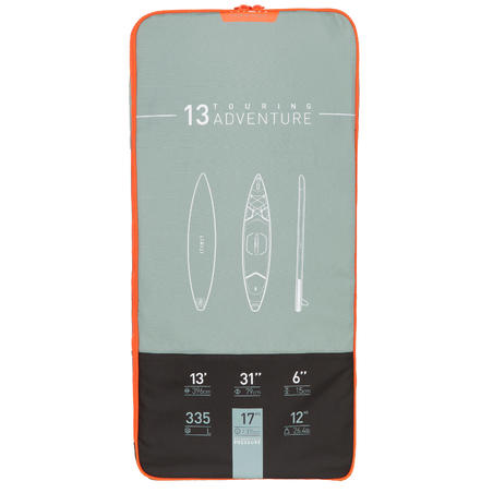 """STAND UP PADDLE GONFLABLE RANDONNÉE  X500 / 13""""-31'VERT"""