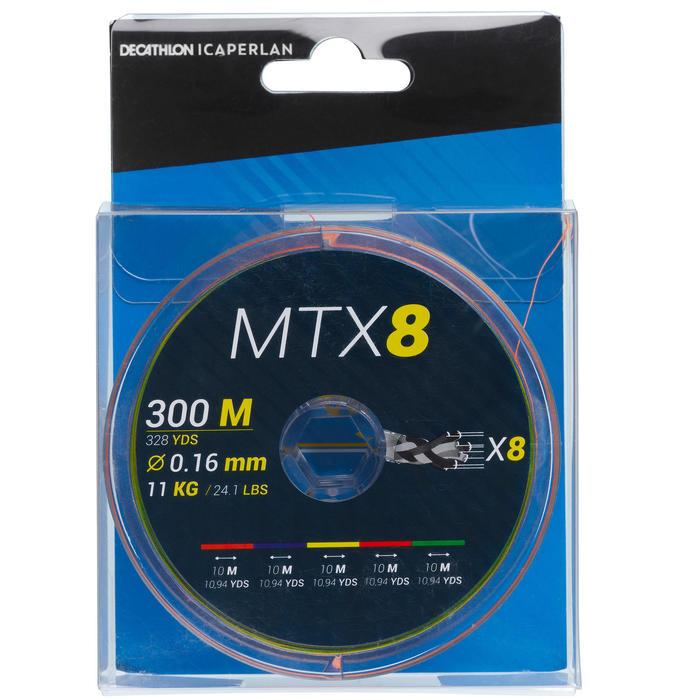 Tresse 8 brins MTX8 MULTICOLORE 300M 16/100 pêche en mer
