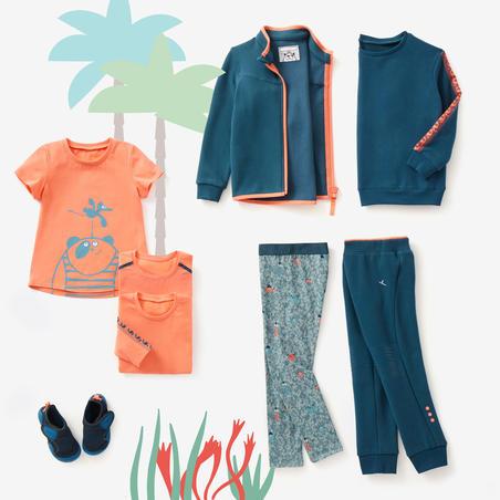 Playera 100 Gimnasia Infantil niña y niño naranja/turquesa