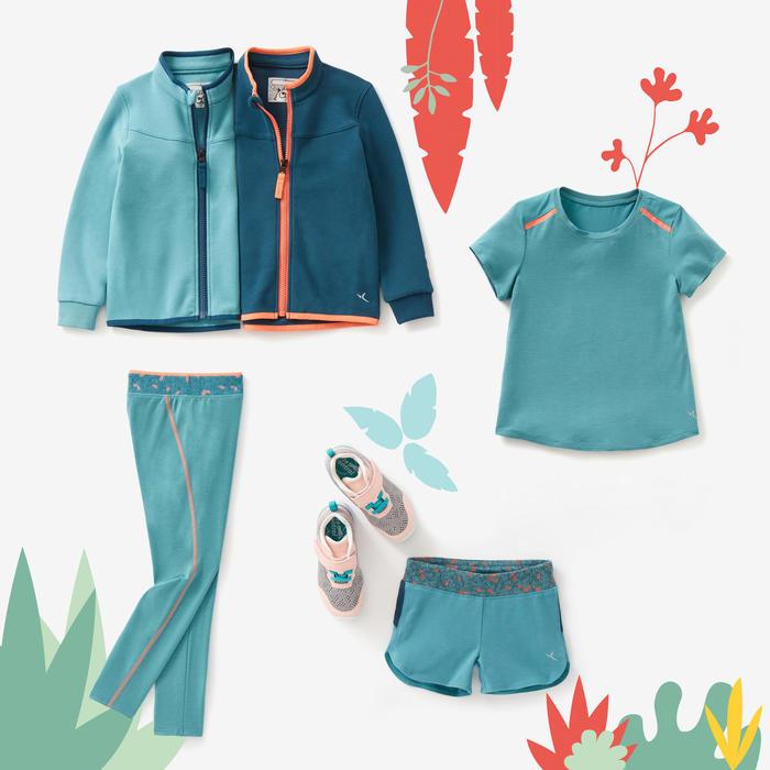 Short kleutergym 500 turquoise/koraal