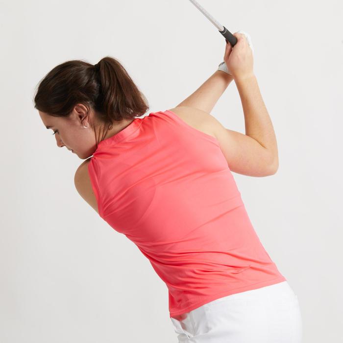 Mouwloze golfpolo voor dames Ultralight fluokoraal