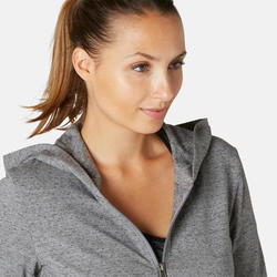 Veste à capuche zippée femme 100 gris