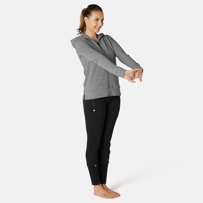 Trainingshoodie met rits voor dames 100 grijs