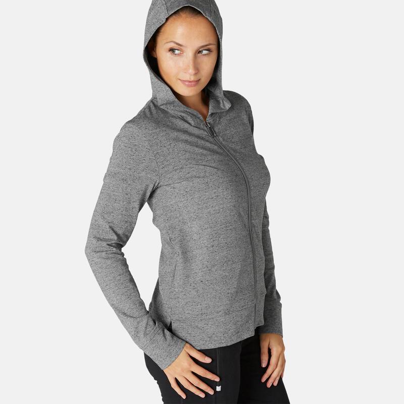 Hoodie met rits voor fitness grijs