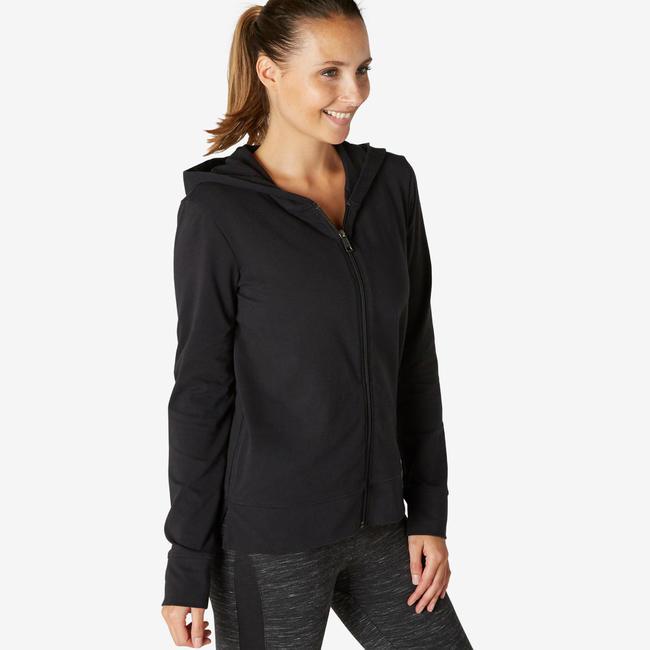 Women's Gym Training Jacket Hooded 100 - Black