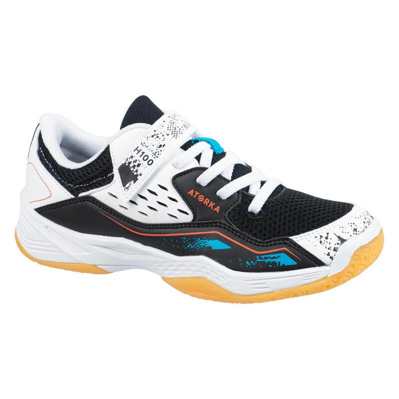 Chaussures de handball enfant H100 avec scratch blanc/noir