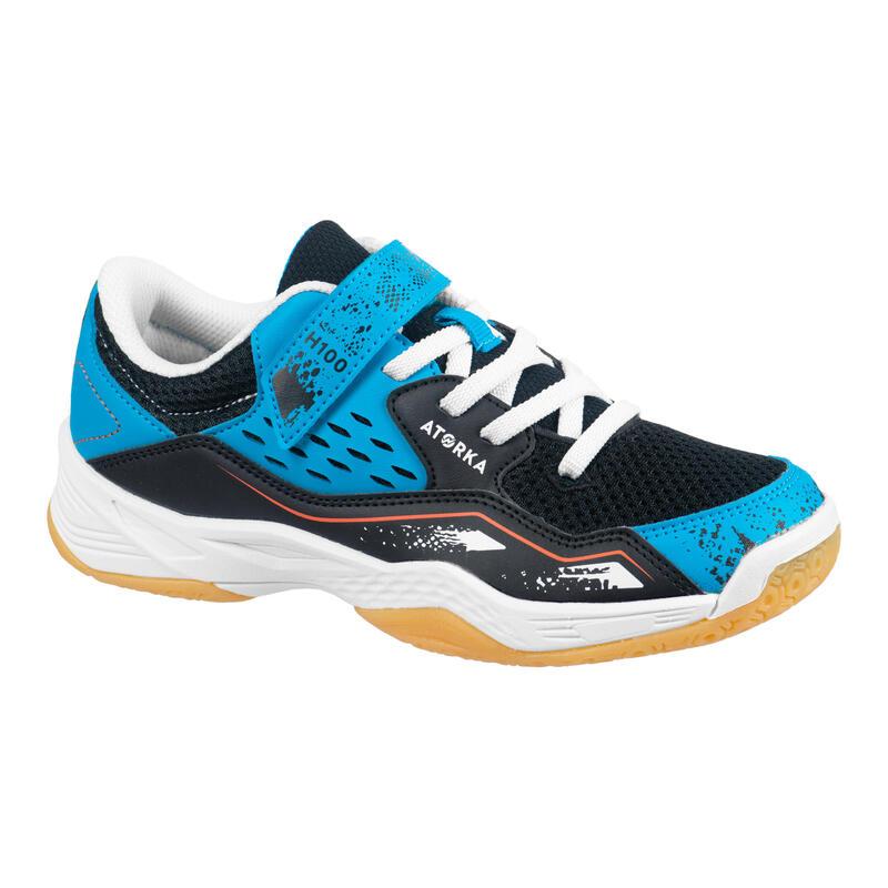 Chaussures de handball enfant H100 avec scratch bleu/noir