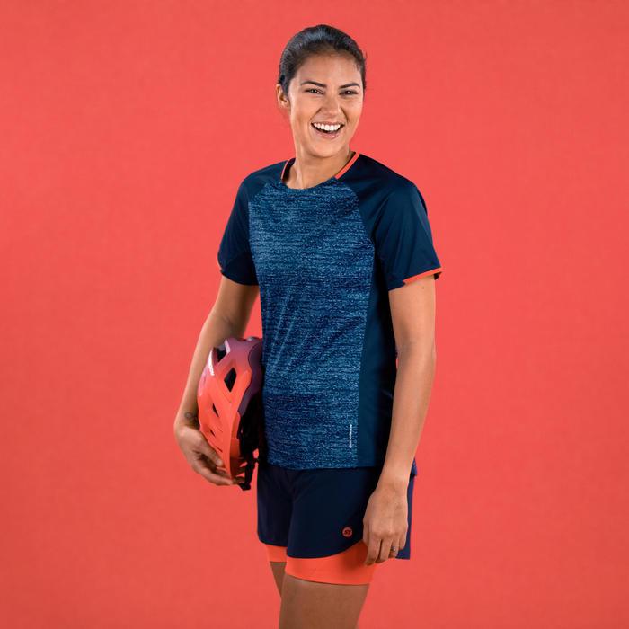 MTB-shirt met korte mouwen voor dames ST 100 marineblauw