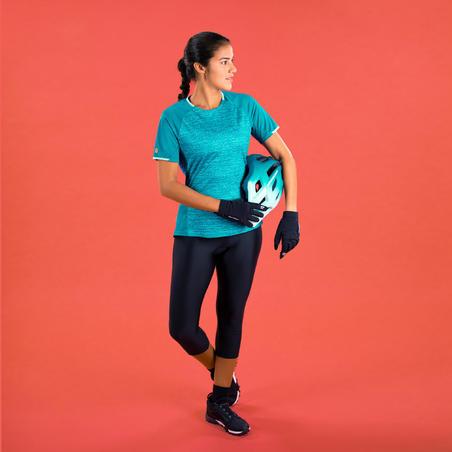 Women's Short-Sleeved Mountain Bike Jersey ST 100 - Turquoise