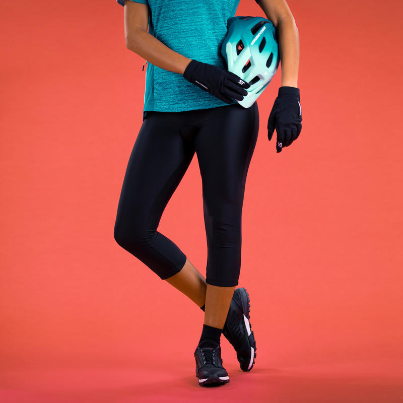 กางเกงขา 3 ส่วนปั่นจักรยานเสือภูเขาสำหรับผู้หญิงรุ่น ST 500 (สีดำ)