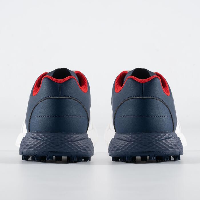 Golfschoenen voor jongens Grip Waterproof wit/blauw