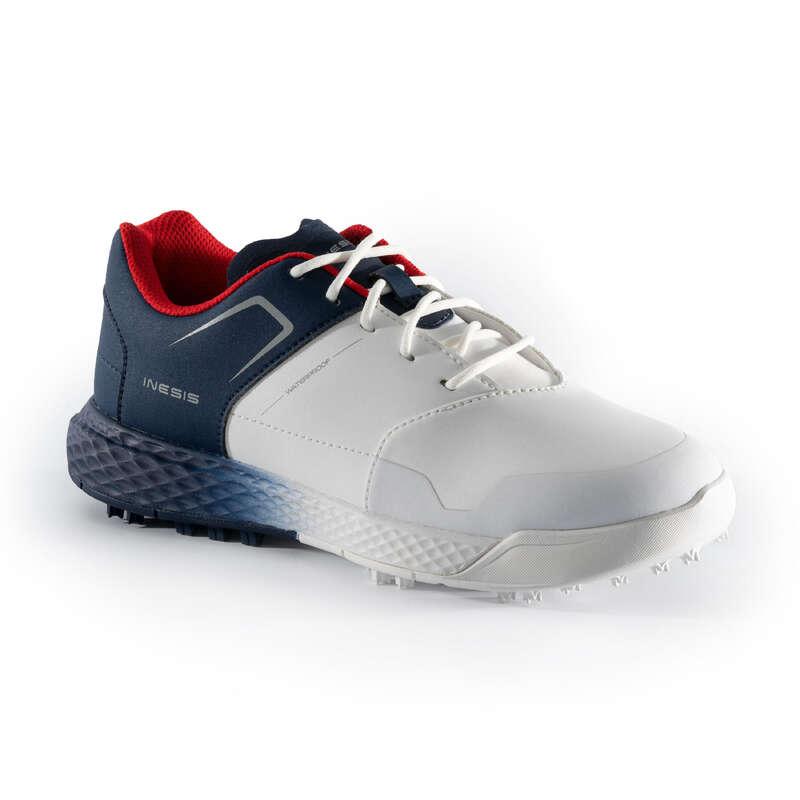DĚTSKÉ OBLEČENÍ A OBUV NA GOLF Golf - GOLFOVÉ BOTY BÍLO-MODRÉ INESIS - Golfová obuv