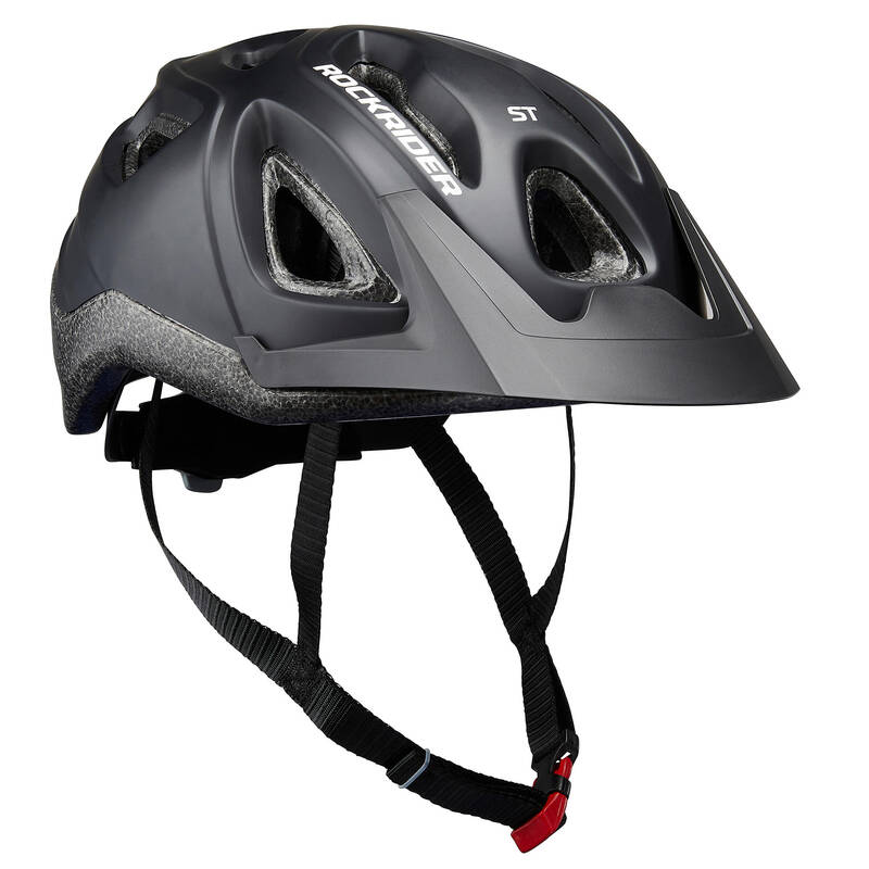 PŘILBY NA HORSKÁ KOLA Cyklistika - HELMA NA HORSKÉ KOLO 100 ČERNÁ ROCKRIDER - Helmy, oblečení a obuv