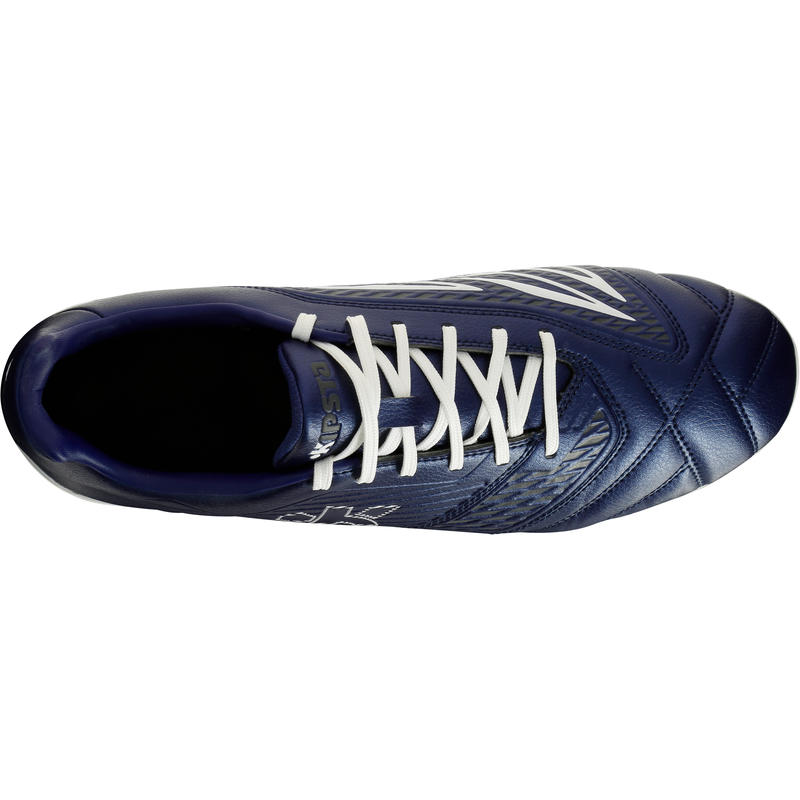 Chaussure rugby 8 crampons adulte terrains gras Density 300 SG bleu et blanc