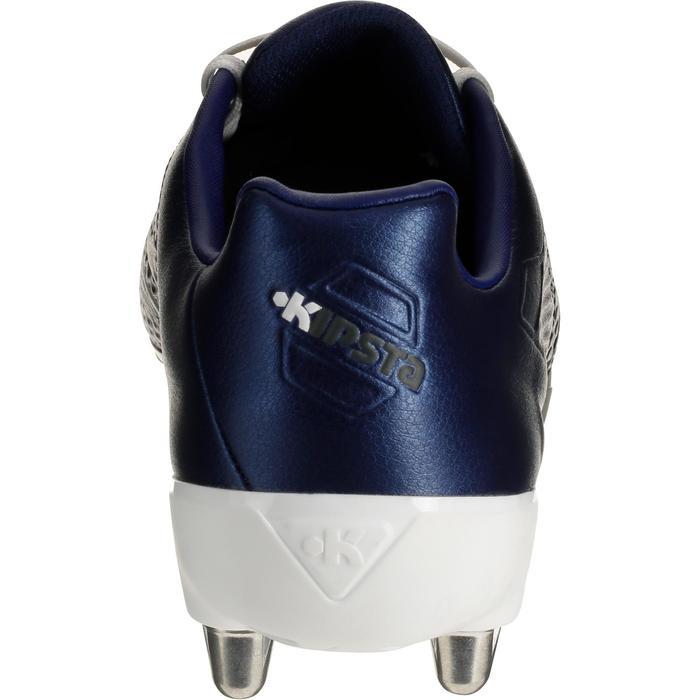 Botas de rugby 8 tacos adulto terrenos resbaladizos Density 300 SG azul y blanco