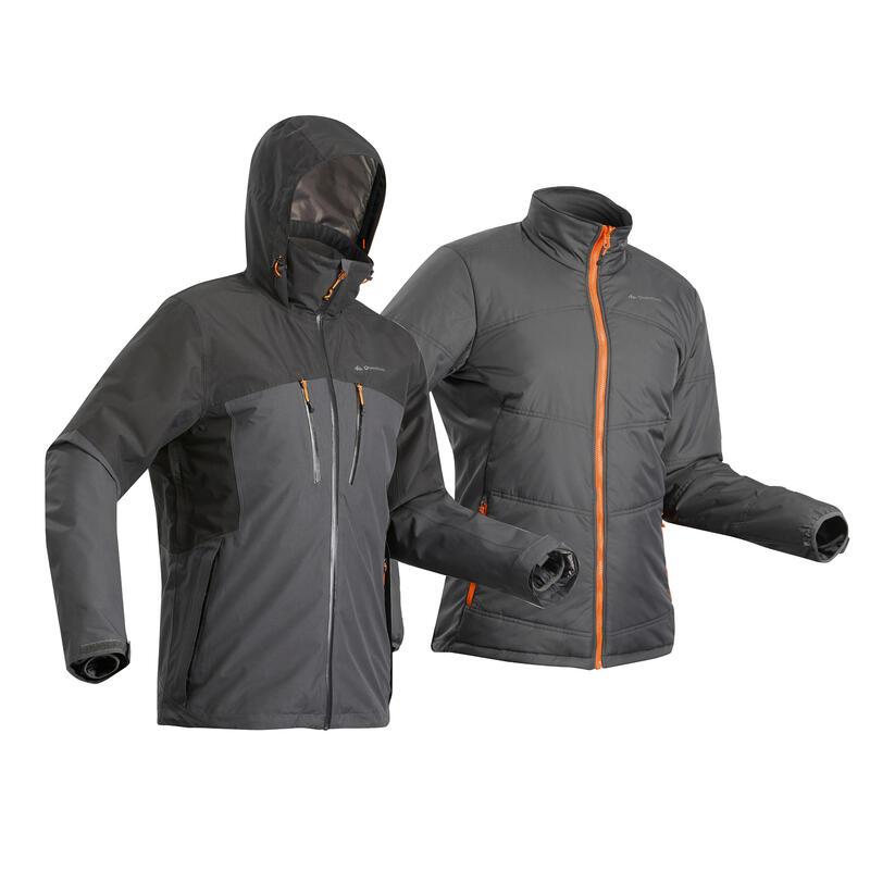 Veste 3en1 imperméable de trek voyage - TRAVEL 500 -10°C noire - homme