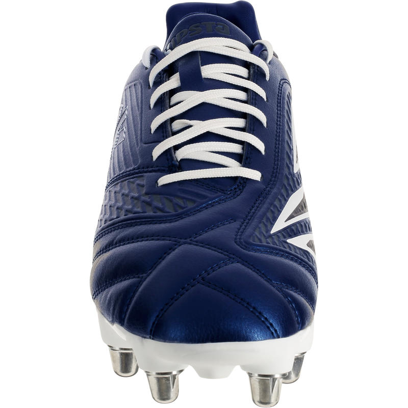 Chaussure rugby 8 crampons adulte terrains gras Density 300 SG bleu et blanc