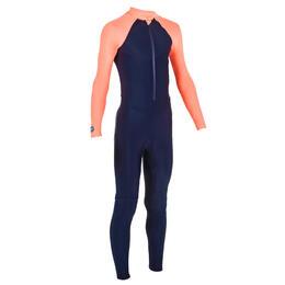 Girl Swimming Costume UV full covered - coral blue