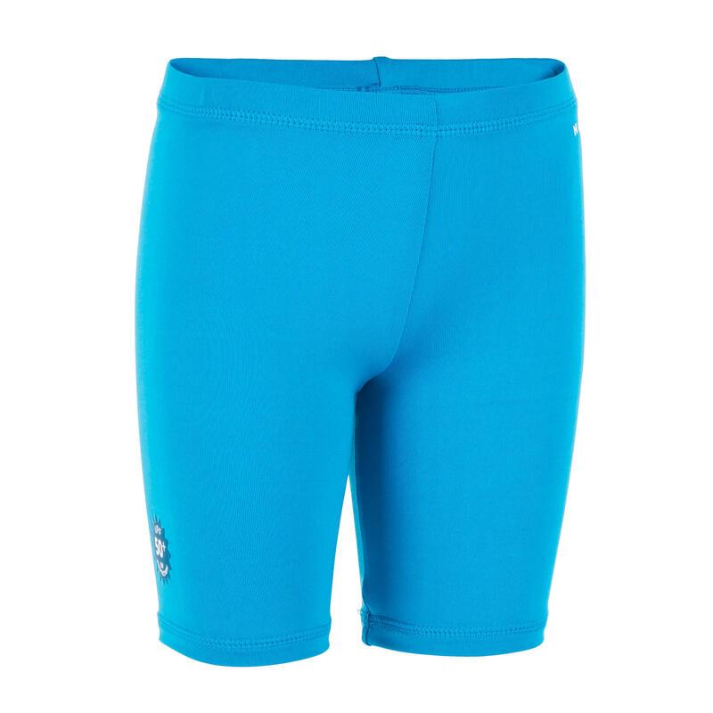 Bas de maillot court anti UV bébé / enfant bleu