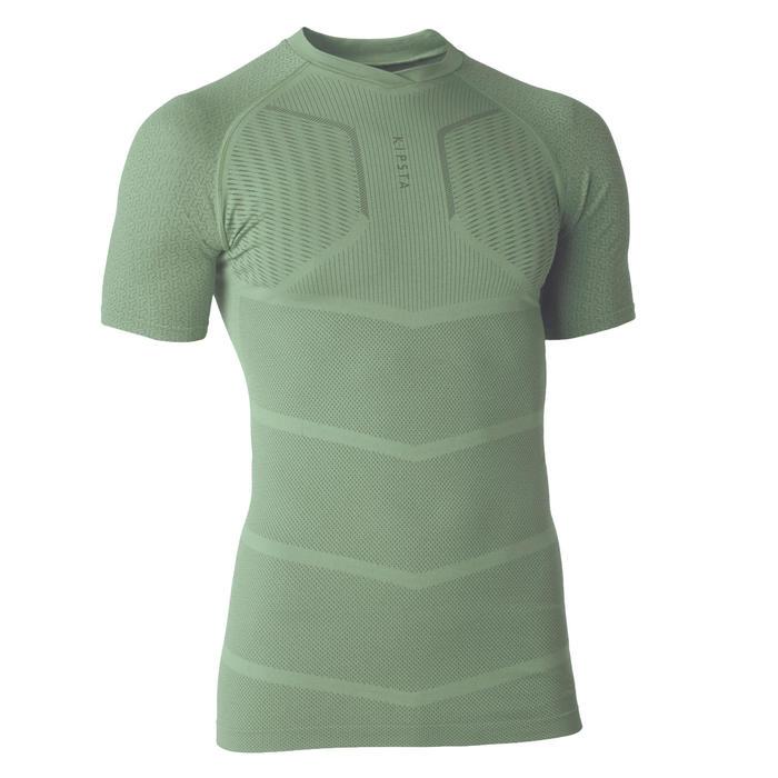 成人款短袖底層衣Keepdry 500-灰綠配色