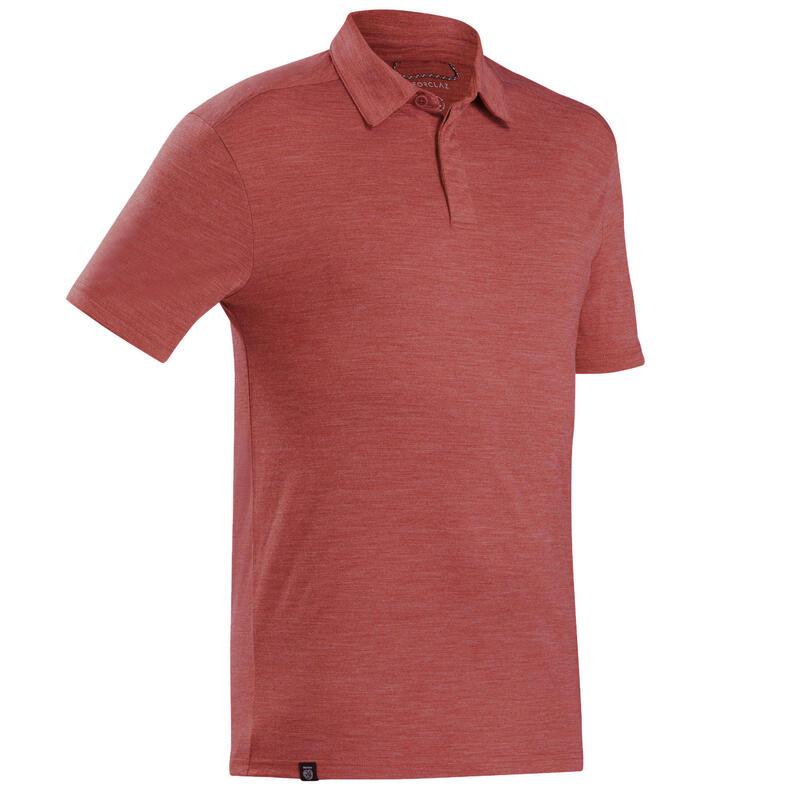 Men's Merino wool trekking travel polo shirt - TRAVEL 500 - red