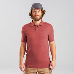 Polo laine mérinos de trek voyage - TRAVEL 500 rouge homme