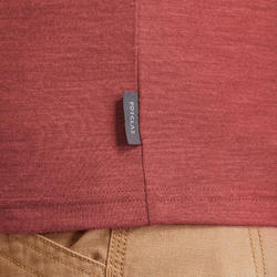 Merino polo voor backpacken heren Travel 500 rood