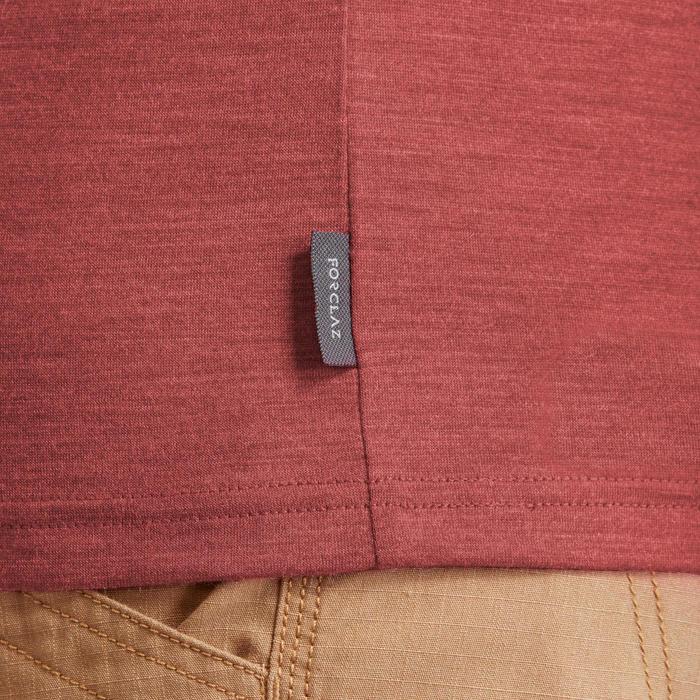 Merino polo voor backpacken heren Travel 500 rood