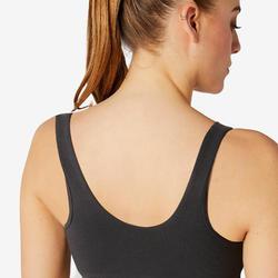 Sportbeha voor pilates en lichte gym zwart katoen