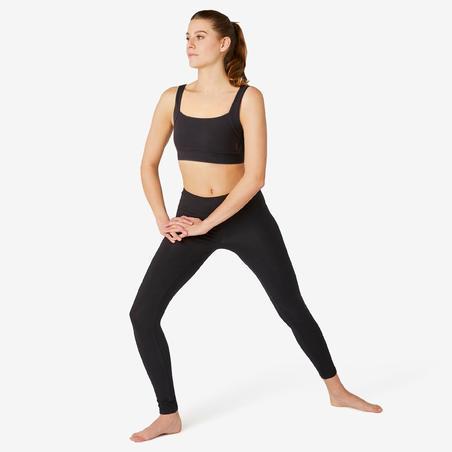 Bra Olahraga Pilates & Senam Ringan Katun Wanita - Hitam