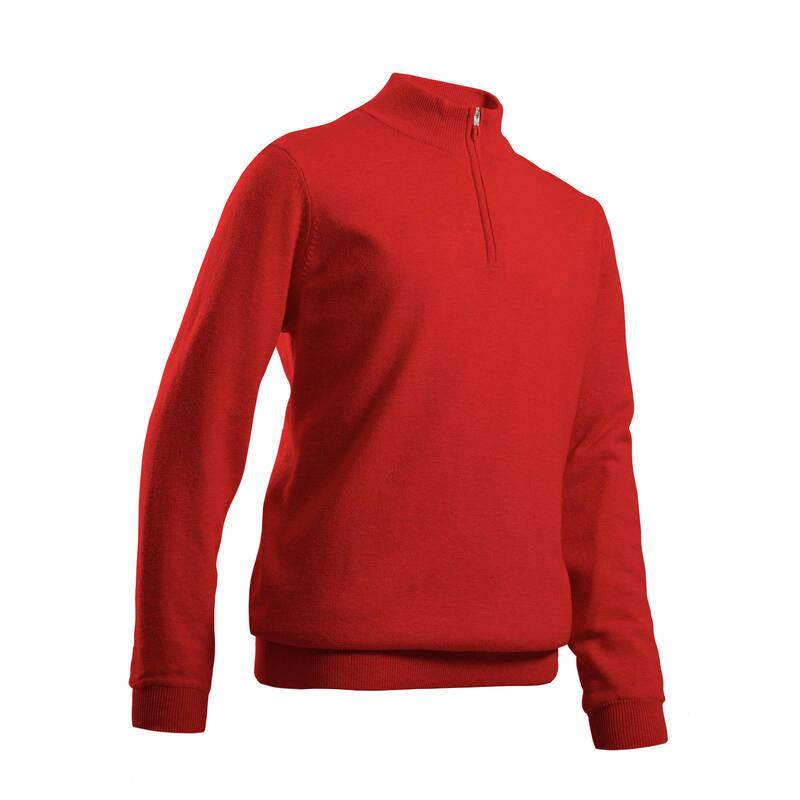 DĚTSKÉ GOLFOVÉ OBLEČENÍ A BOTY Golf - GOLFOVÝ SVETR MW500 ČERVENÝ INESIS - Golfové oblečení