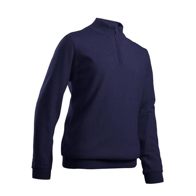 DĚTSKÉ GOLFOVÉ OBLEČENÍ A BOTY Golf - GOLFOVÝ SVETR MW500 MODRÝ  INESIS - Golfové oblečení
