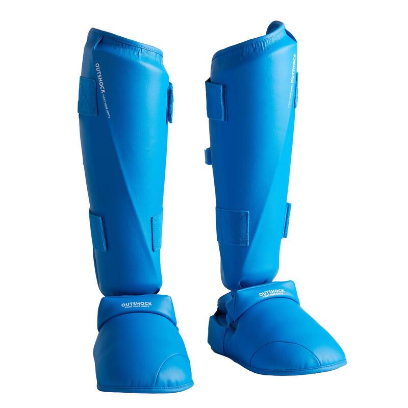 Scheen- en voetbeschermer voor karate 900 blauw