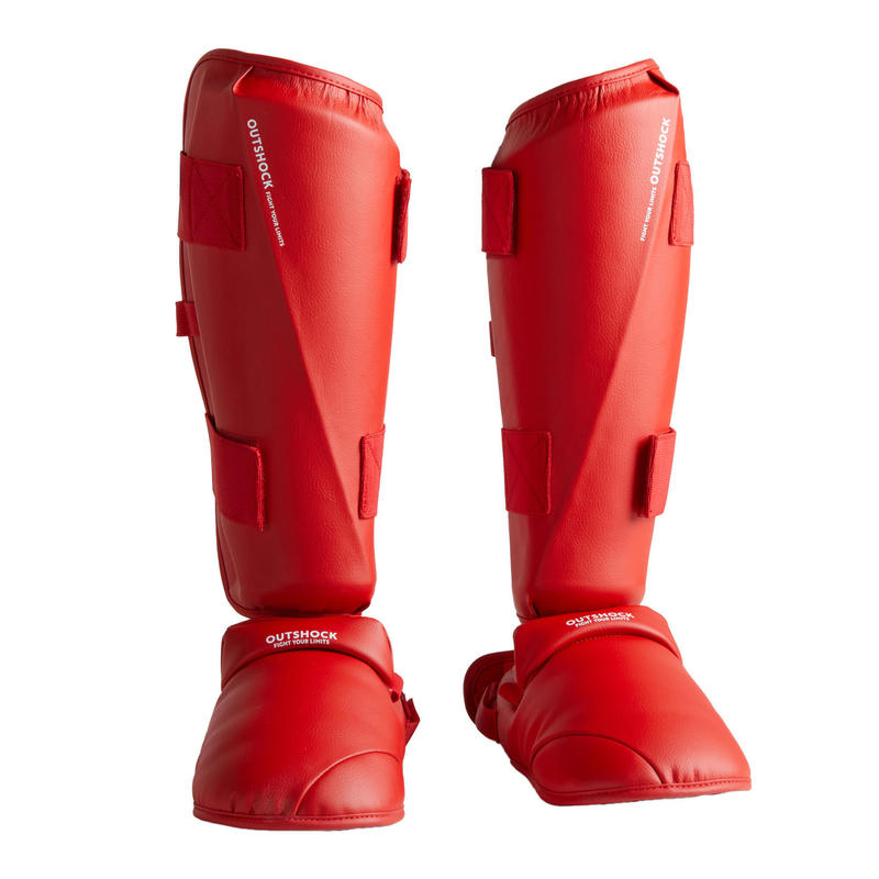 Karate scheen- en voetbeschermer 900 rood