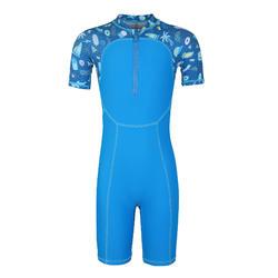 男童款短版連身泳裝ShortySwim 100-藍色