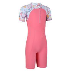 女童款連身泳裝 - 粉紅色滿版點點