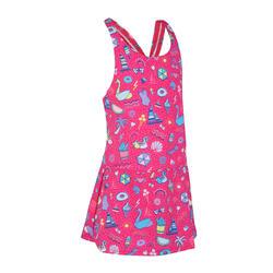 女童款一件式連身裙泳裝Leony - 滿版粉紅色